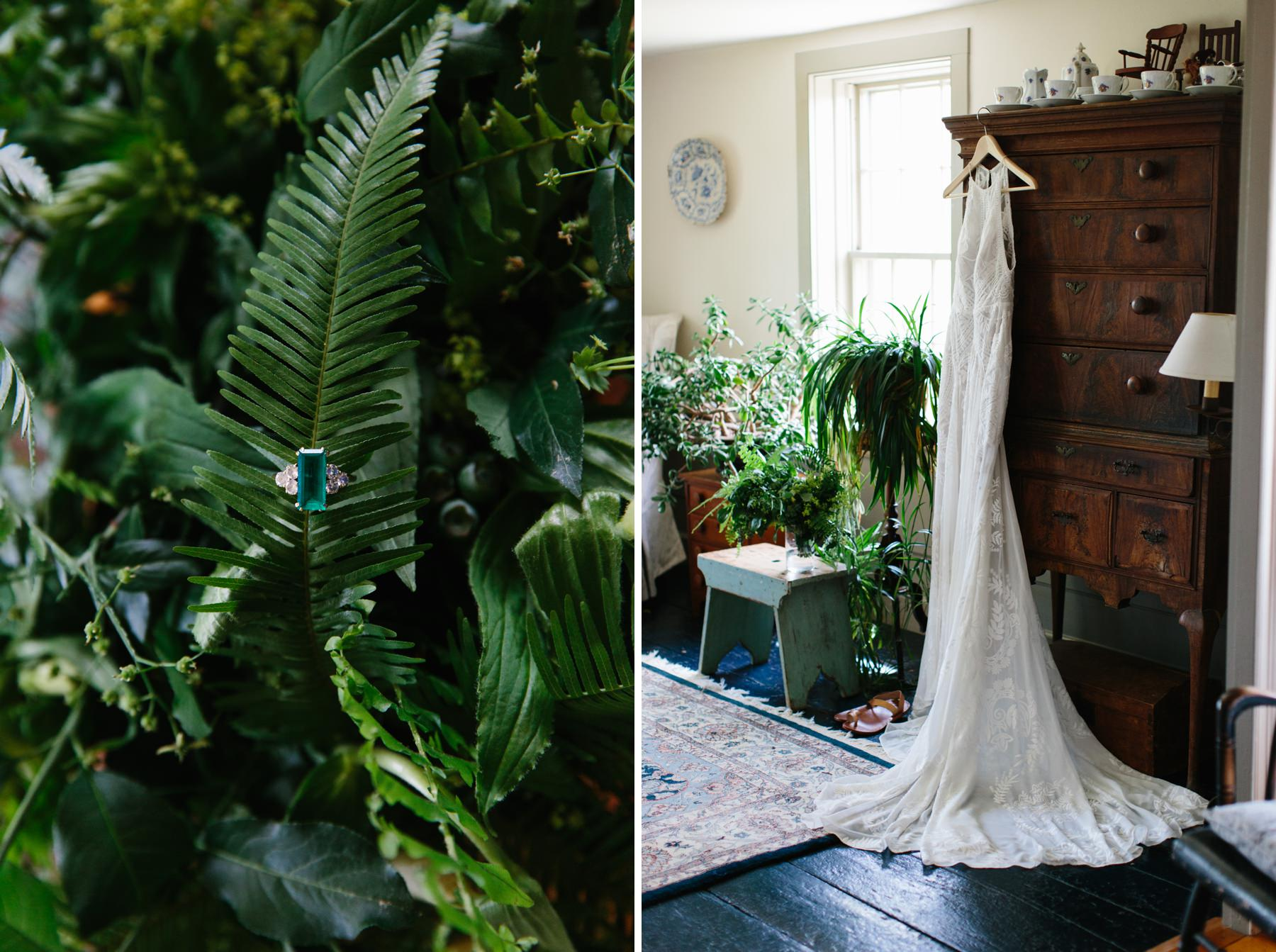 wedding gown hanging with plants