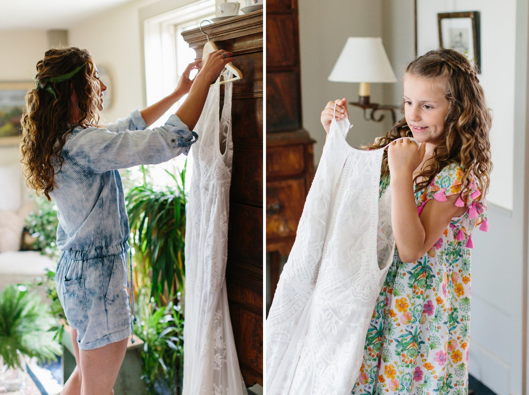 bride getting ready with daughter