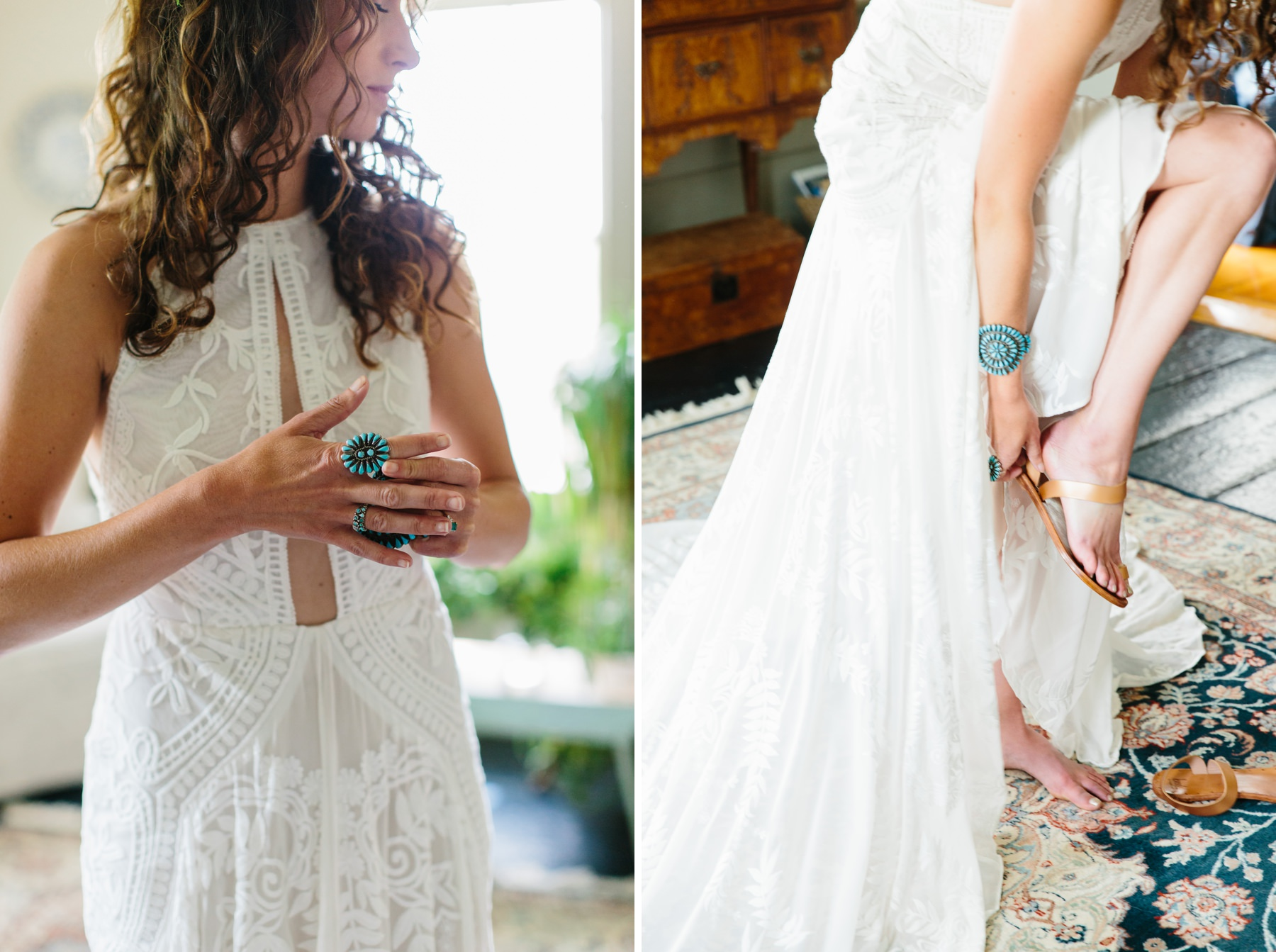 bride with turquoise