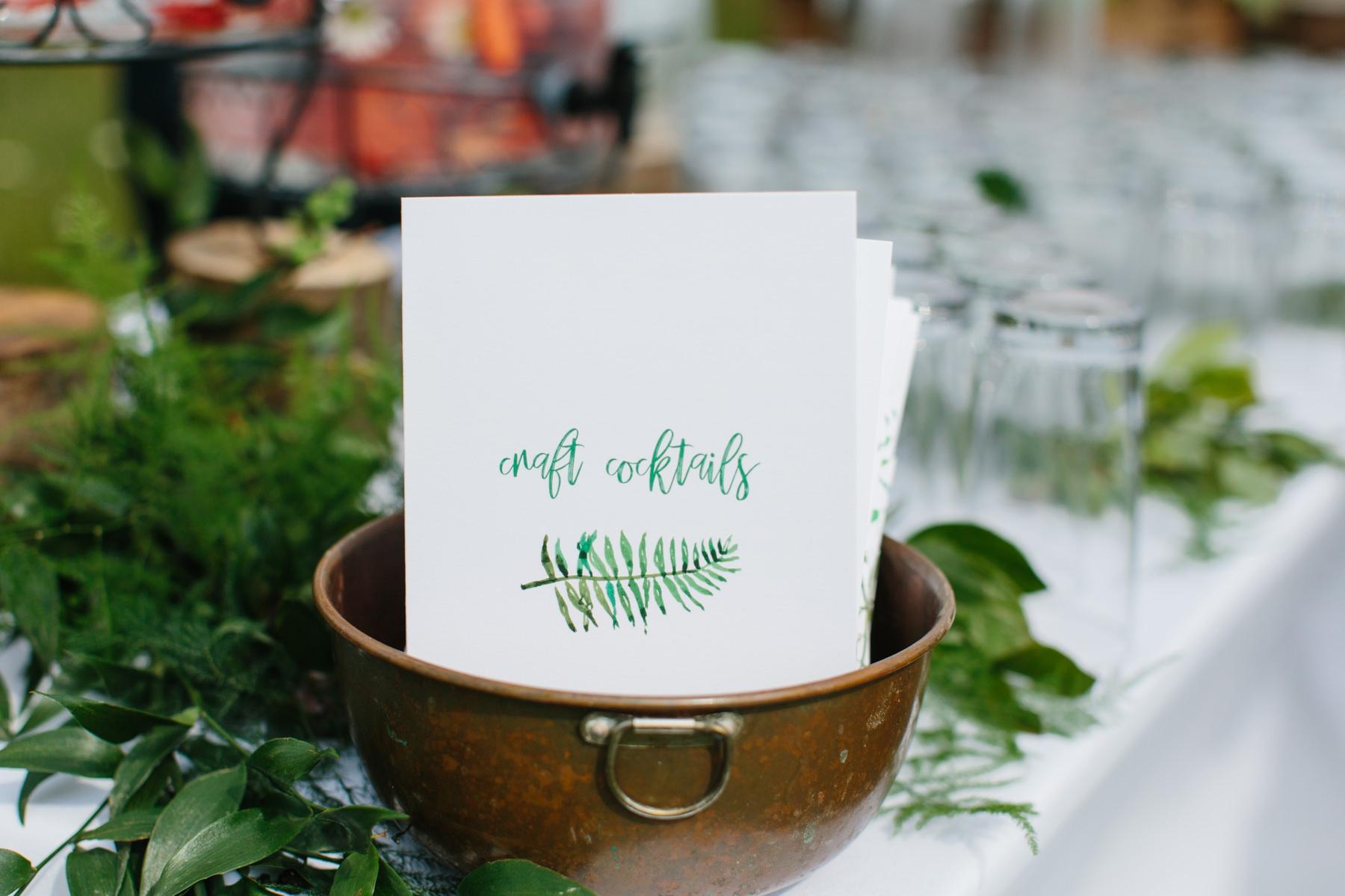 watercolor wedding detailsl in green