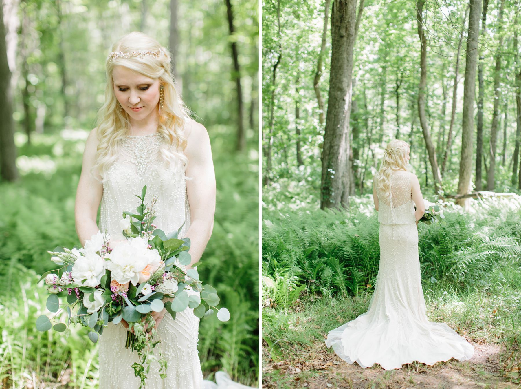 bride in woods with ferns