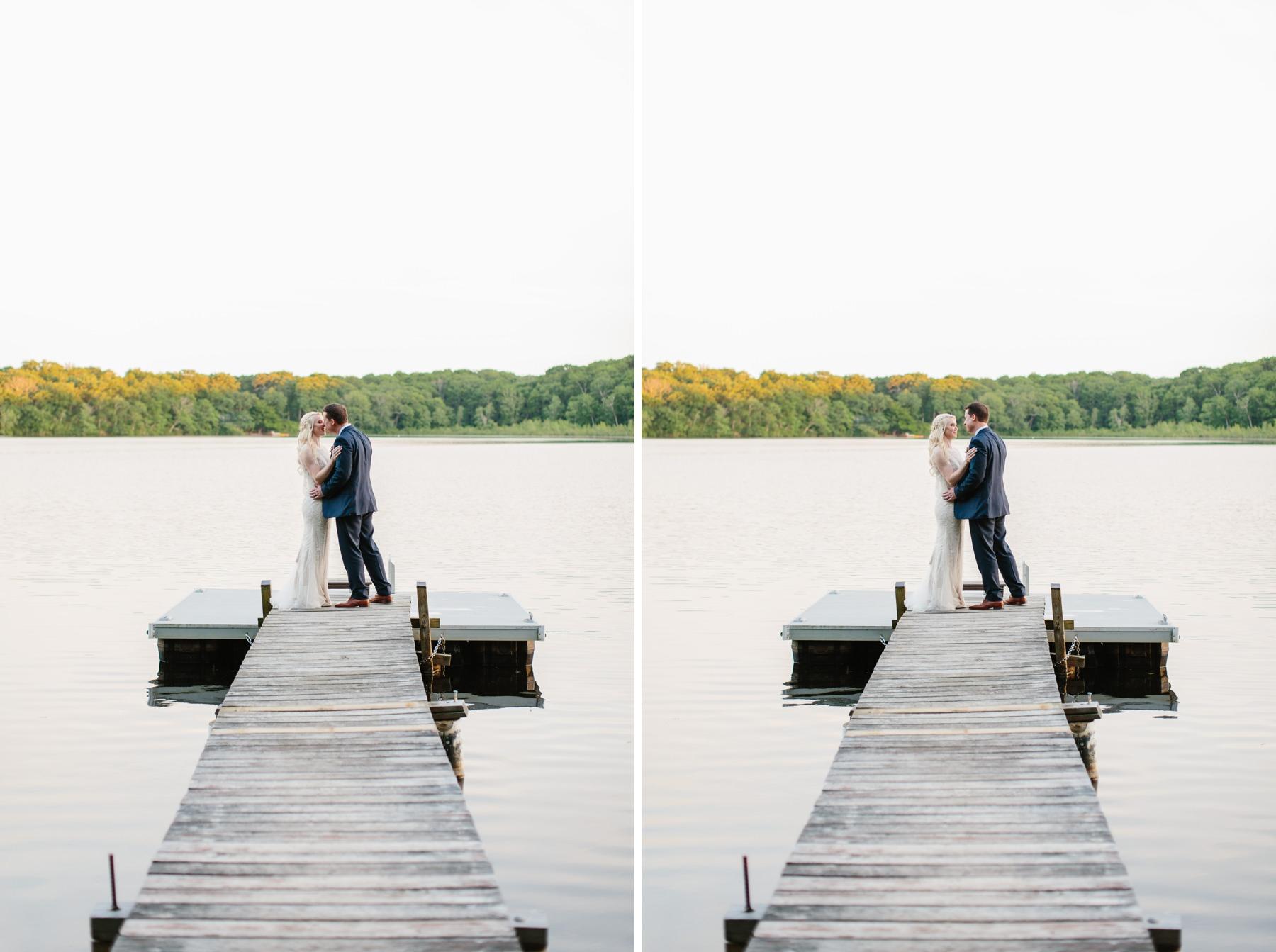 bride and groom at lake ri