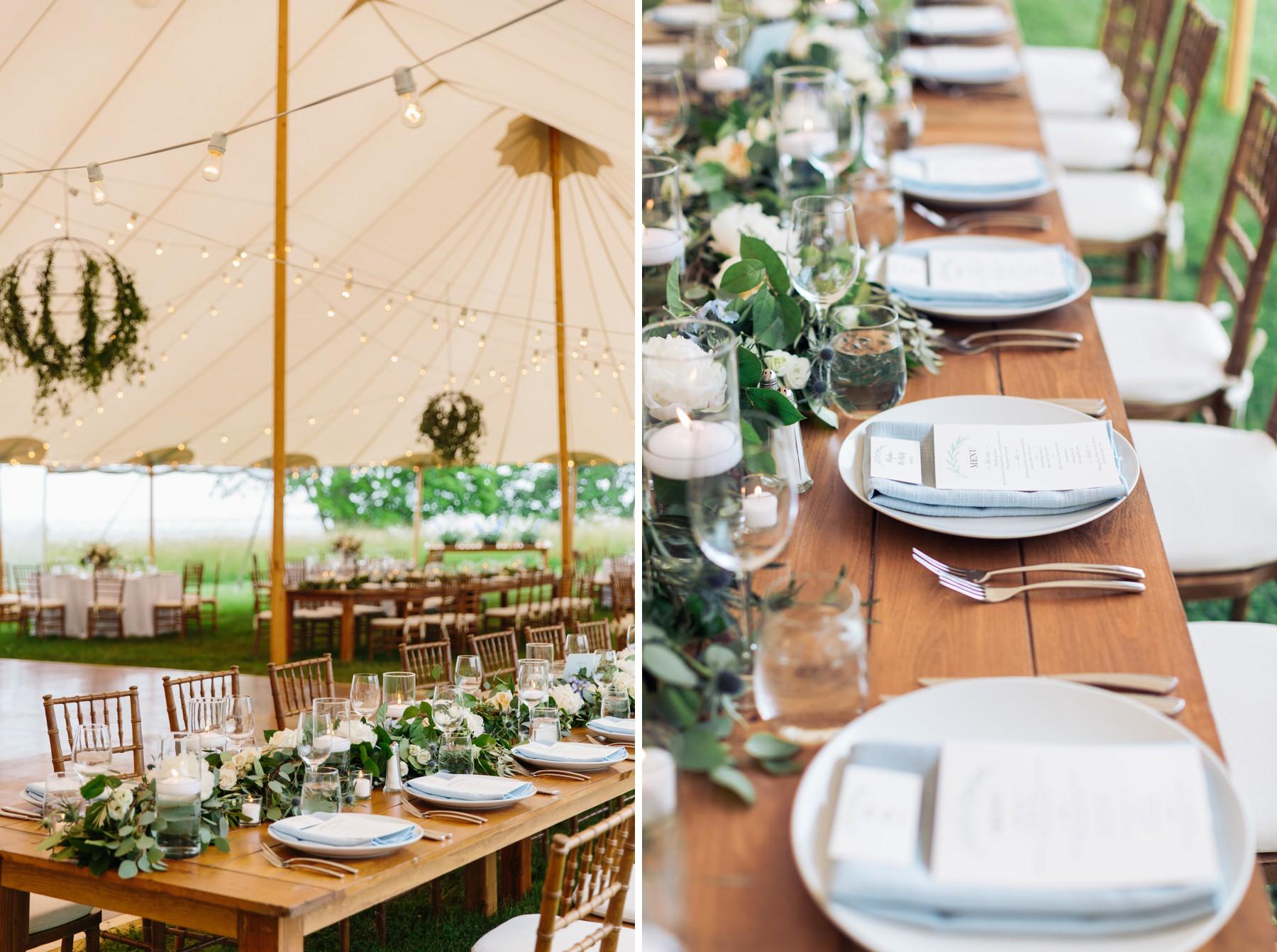 tented farm wedding reception decor