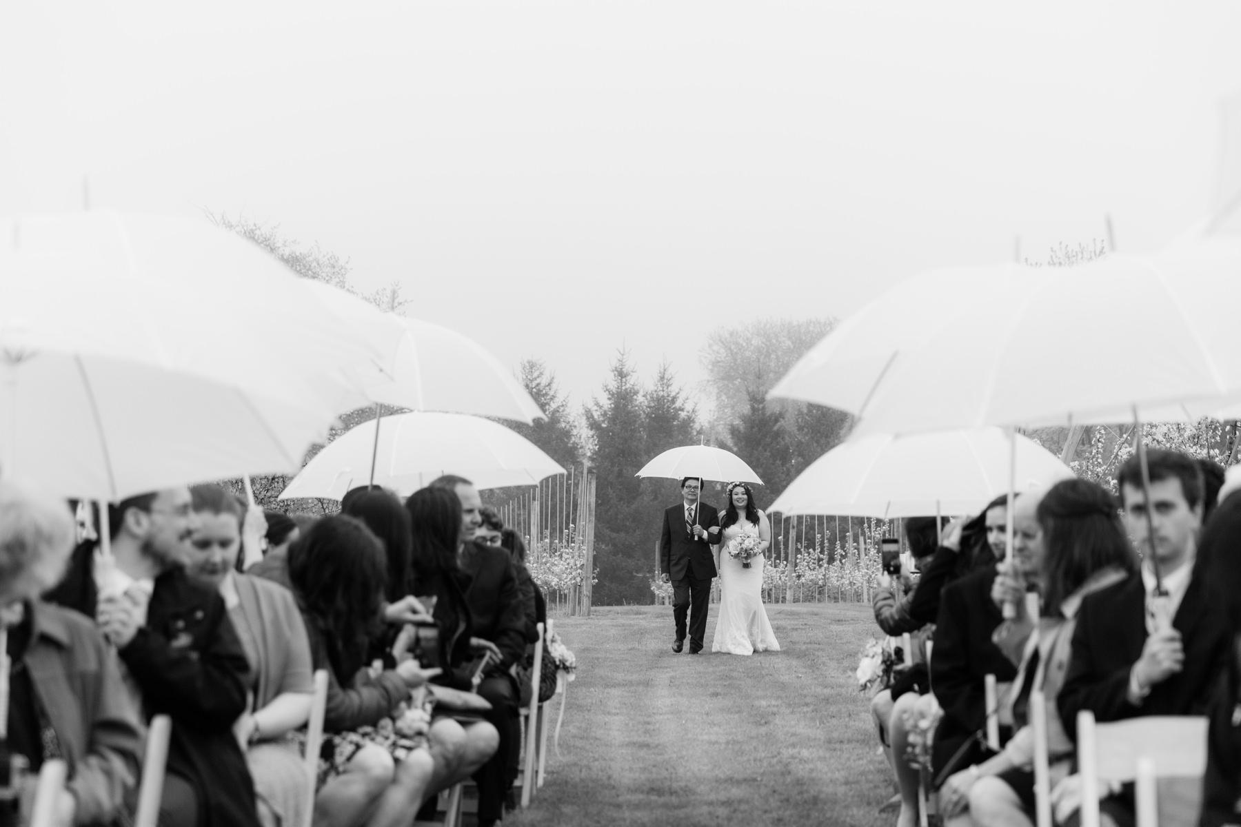 black and white rainy ceremony