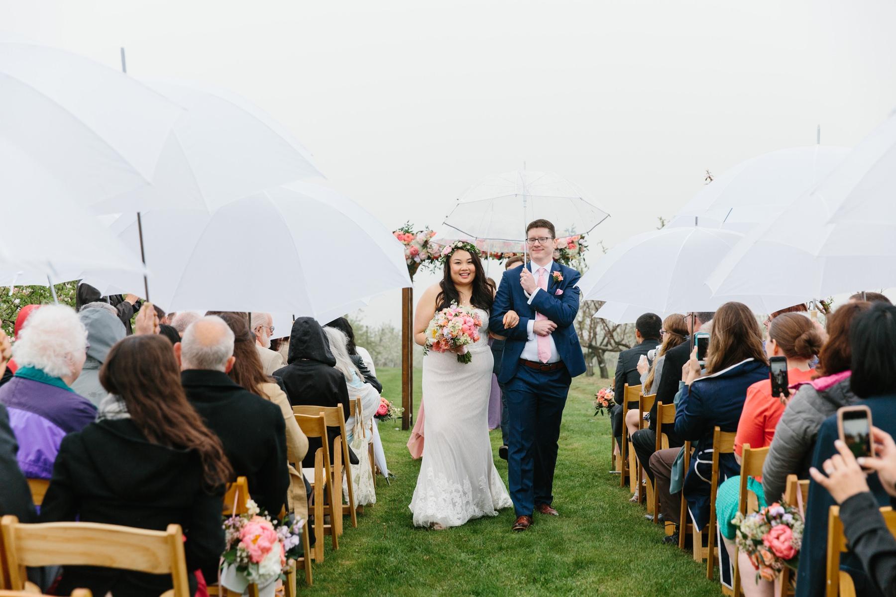 wedding ceremony in rain